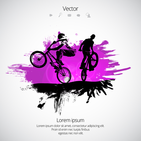 Silhouette of bicycle jumper sport, vector illustration