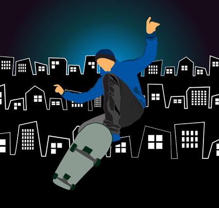 Skateboarder doing a trick poster