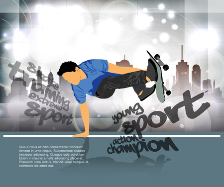 Skateboarder jump, sport background on cool presentation.