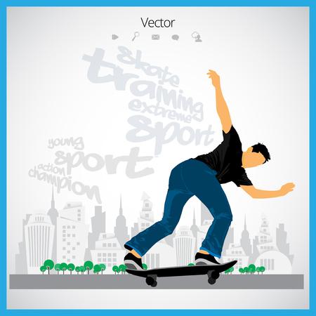 Skateboarder jump, sport background illustration.