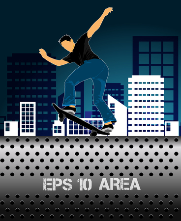 Extreme sports poster template with skateboarder jump.