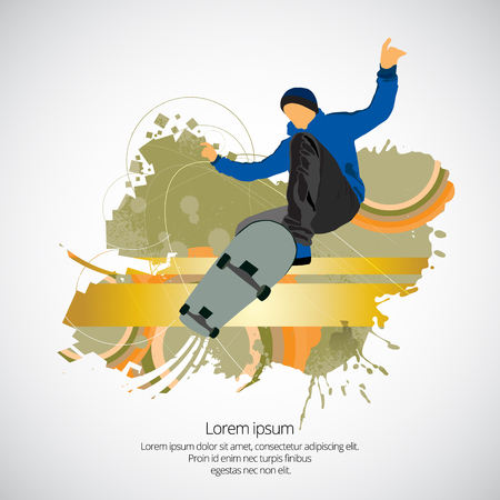 Skateboarder jump, sport background illustration.