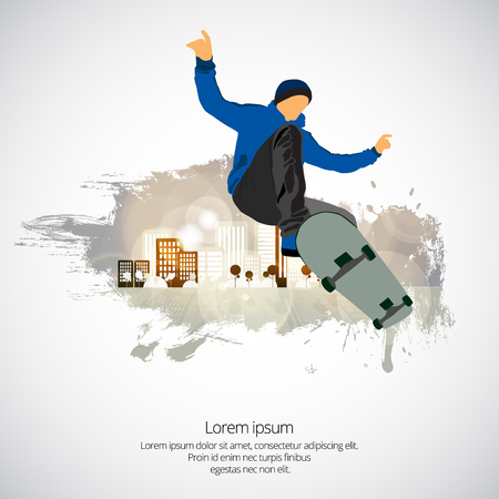 Skateboarder jump, sport background Illustration