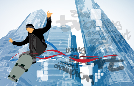 Skateboarder doing a trick with building background Illustration