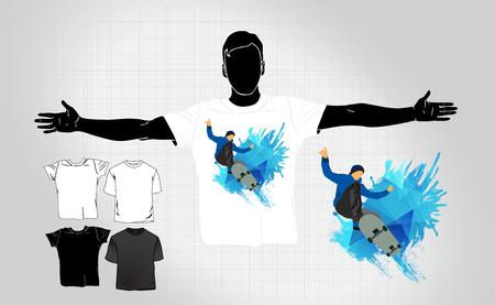 Skateboarding t-shirt template