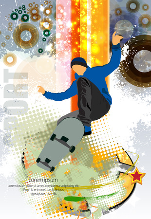 Skateboarder doing a trick poster template Illustration