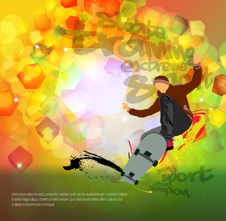 Skateboarder jump, sport background isolated on white background