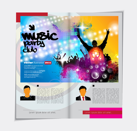 Colorful music magazine, brochure layout.
