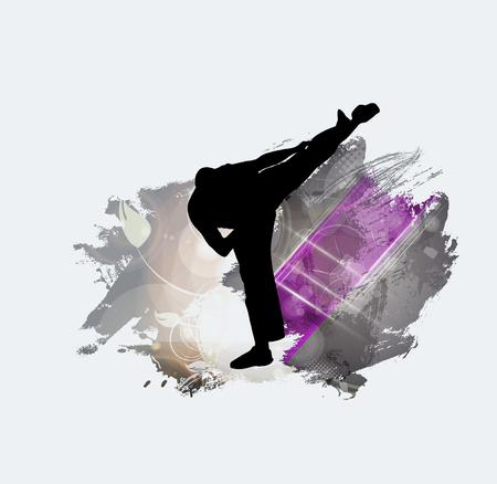 Martial arts. High kick silhouette. 向量圖像