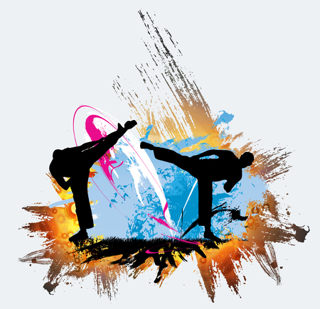 Martial arts on High kick isolated on plain background.