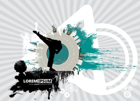 Martial art sports poster template vector illustration