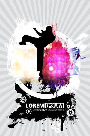 Martial arts poster template design Illustration