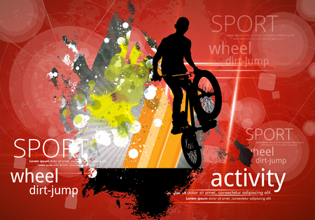 Silhouette of bicycle jumper, sport background