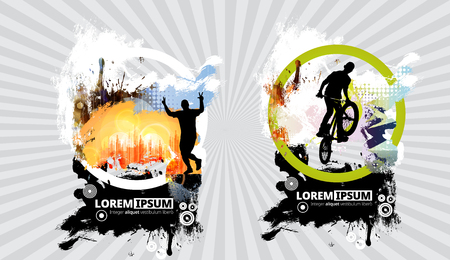 Silhouette of marathon runner and bicycle jumper. Background ready for poster or banner