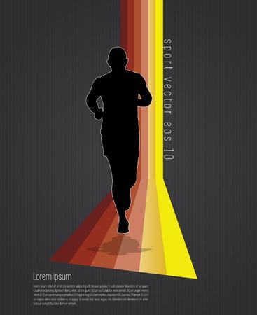Silhouette of marathon runner on dark background