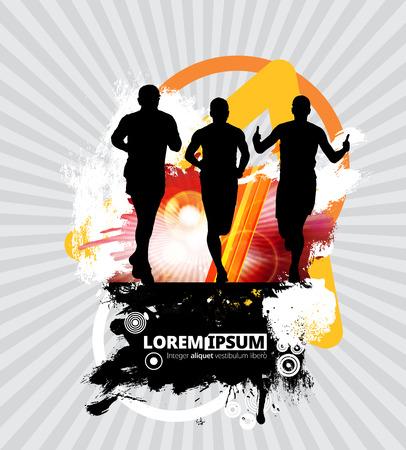 Silhouette of marathon runner