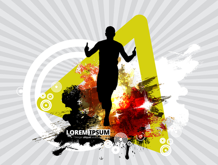 Silhouette of marathon runner