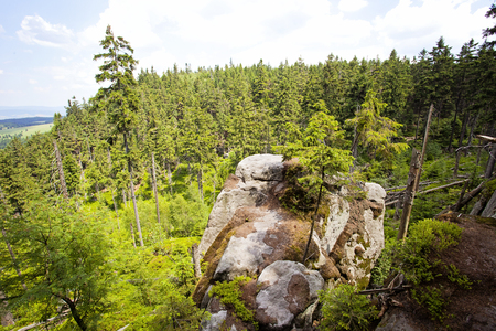 View on Stolowe Mountains National Park. Biggest tourist attraction of the Polish Sudetes