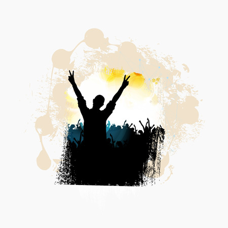 Crowd with raised hands at concert. Music festival concept