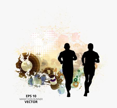 Silhouette of marathon runners. Vector illustration