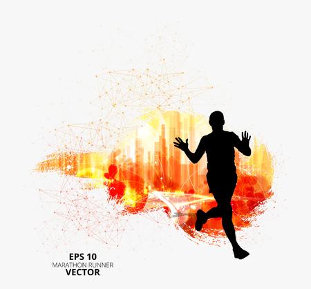 Silhouette of marathon runner. Vector illustration Illustration