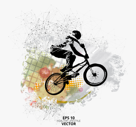 Young male bicycle jumper. Healthy lifestyle. Vector illustration. Banque d'images - 103783611