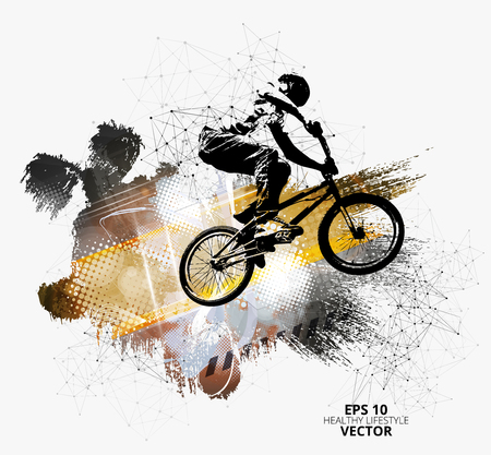 Young male bicycle jumper. Healthy lifestyle. Vector illustration.