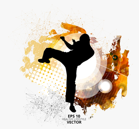 Young male karate warrior. Healthy lifestyle. Martial arts. Vector illustration. Illustration