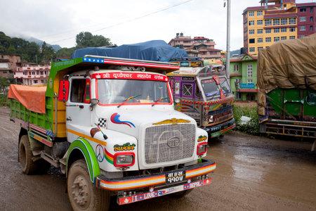 KATHMANDU, NEPAL - JULY 13, 2018: Popular colorful trucks decorated nepalese style. 에디토리얼