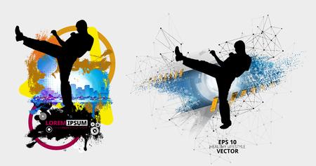 Martial arts. High kick, vector illustration.