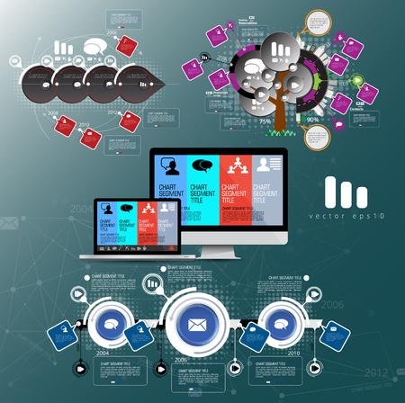 Diseño vectorial de visualización de datos de elementos de infografía empresarial.