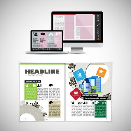 テンプレート ベクトルデザイン。パンフレット、年次報告書、雑誌に使用する準備が整いました