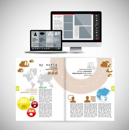 Vorlagenvektorentwurf. Gebrauchsfertig für Broschüren, Geschäftsberichte oder Magazine Vektorgrafik
