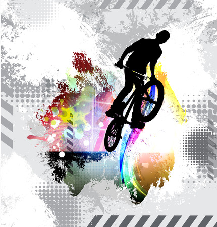 Silhouette of a bicycle rider. Vector illustration