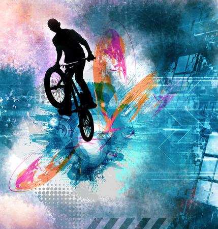 Sport illustration of bicycle rider Stockfoto