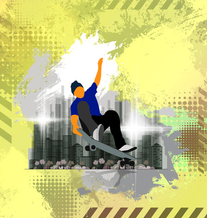 Skateboarder jump, sport background. Vector illustration. Archivio Fotografico - 112666857