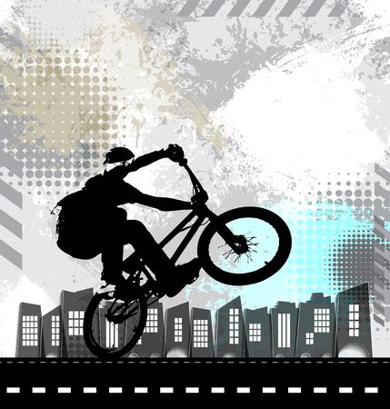 Sport illustration of bicycle rider. Vector illustration.