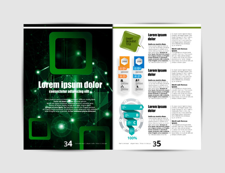Corporate booklet or presentation templates. Easy for use in flyer, vector illustration