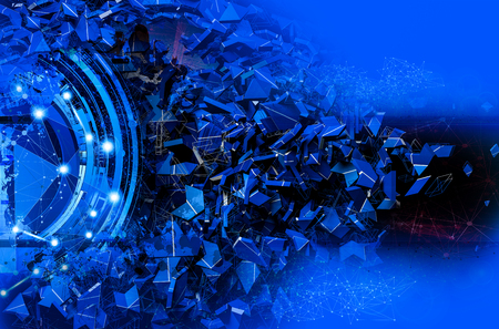 3D rendering of abstract digital technology background 스톡 콘텐츠