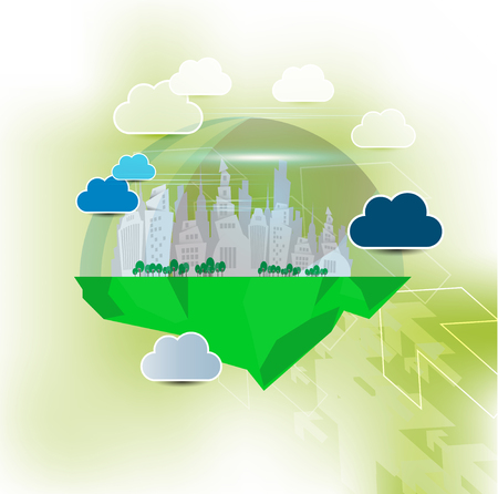 Futuristic city, vector illustration. Ilustração