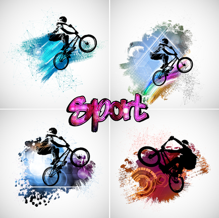 Sport illustration of bicycle rider Illusztráció
