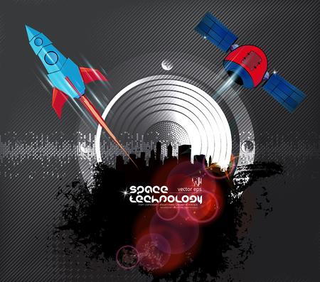 Galaxy space ship rocket, creative idea, vector illustration Illustration