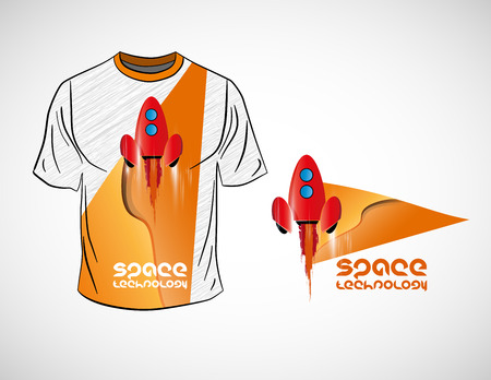 T-shirt with cartoon space rocket, vector illustration
