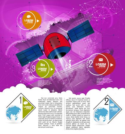 Cartoon flying space rocket, vector illustration