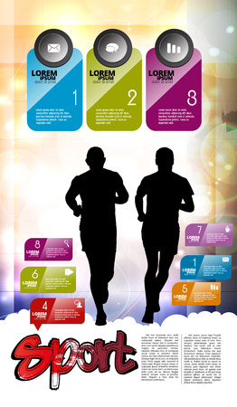 Running man design with infographic elements, vector illustration