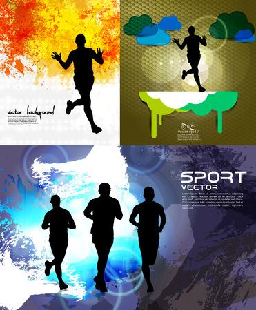 Running marathon, people run - vector illustration