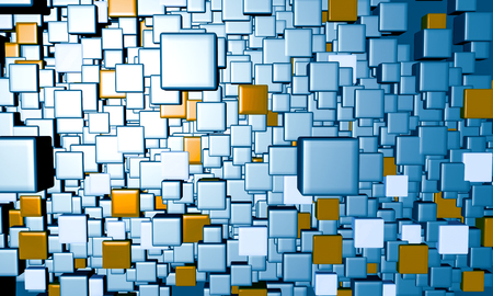 3D rendering of abstract metallic cubes background Banque d'images