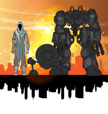 Robot, vector illustration Ilustração Vetorial