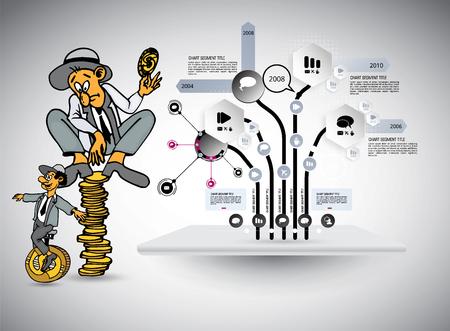 Disegno del personaggio di lavoro dell'uomo d'affari, illustrazione vettoriale Vettoriali