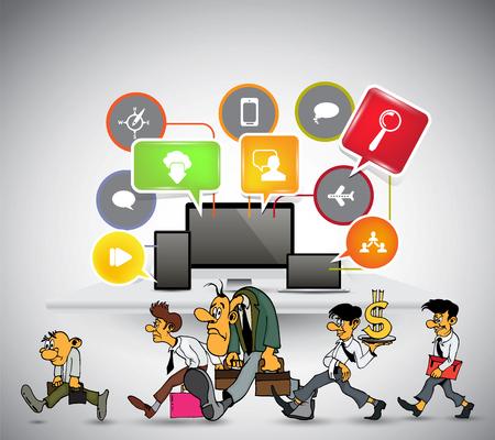 Homme d'affaires travaillant la conception des personnages, illustration vectorielle Vecteurs